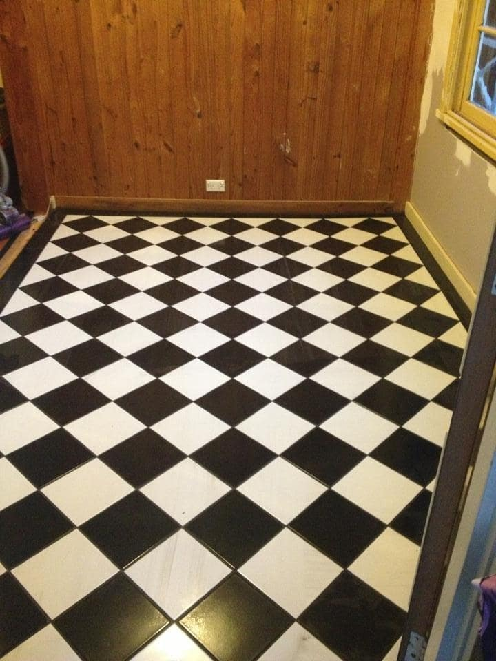 Tiled checkered entrance way into cottage in Blackheath