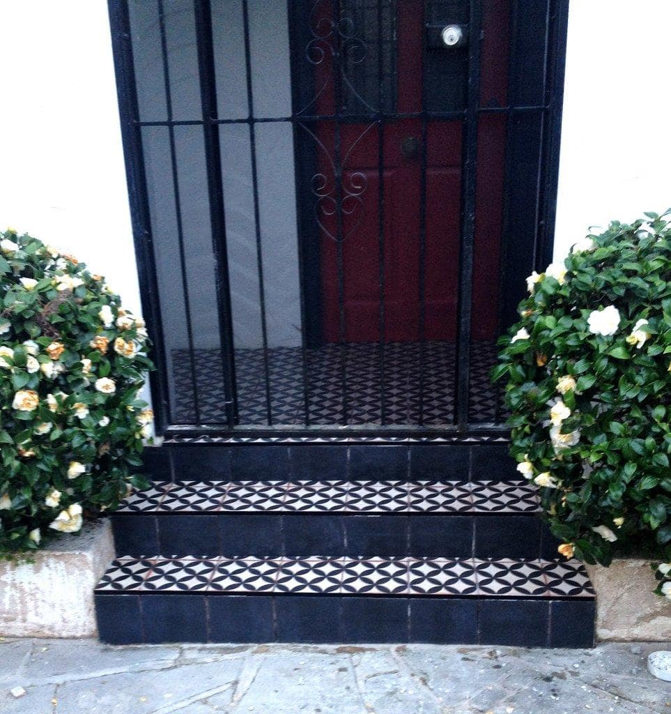 Beautiful handpainted spanish clay tiles at entrance and stairs at Leura NSW residence